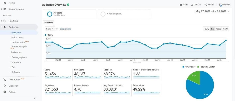 Google Analytics pavyzdys