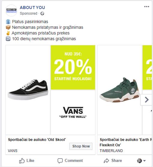facebook reklamos pvz karuselė