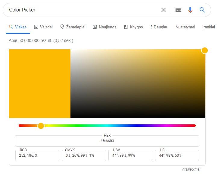 Google rezultatai - spalvų paletė