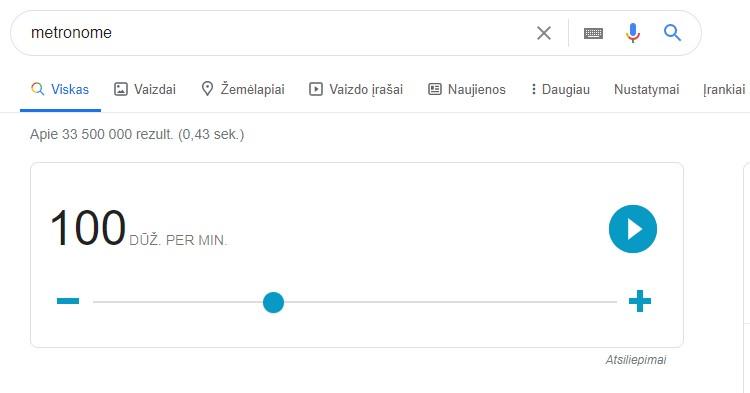 Google rezultatai - metronomas