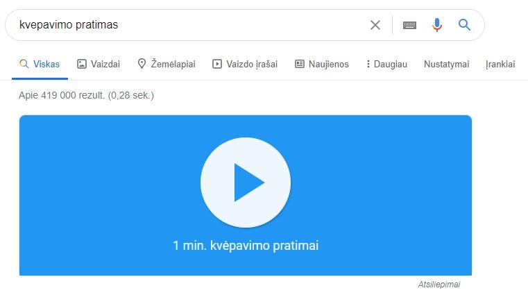 Google rezultatai - meditacija
