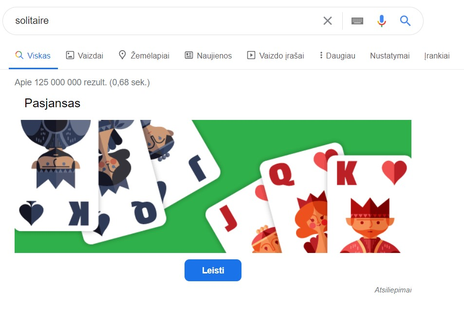 Google rezultatai - pasjansas
