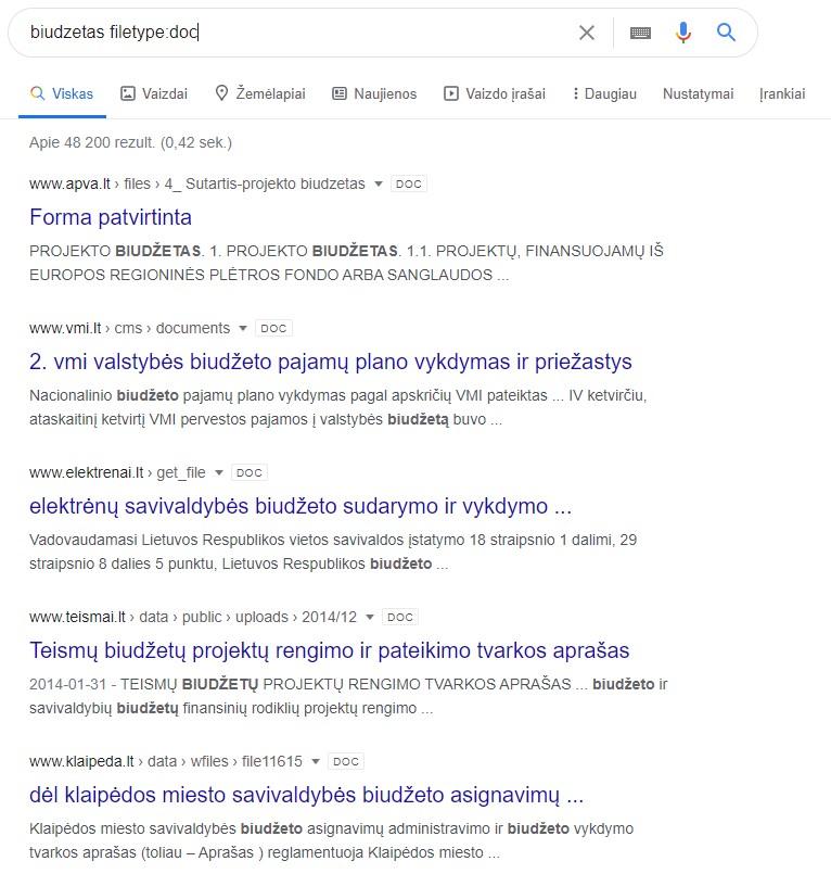 Google parametrai - failo tipas