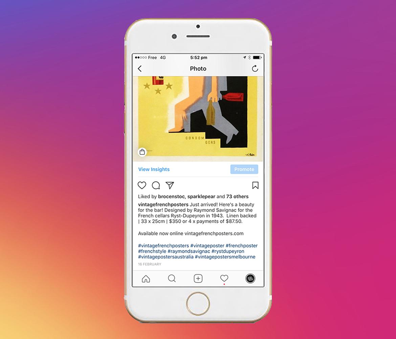 Instagram pastraipų valdymas
